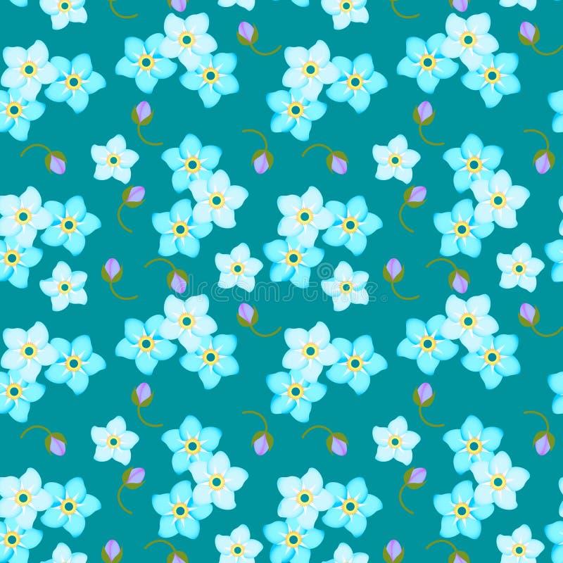 μπλε πρότυπο λουλουδιώ στοκ εικόνα