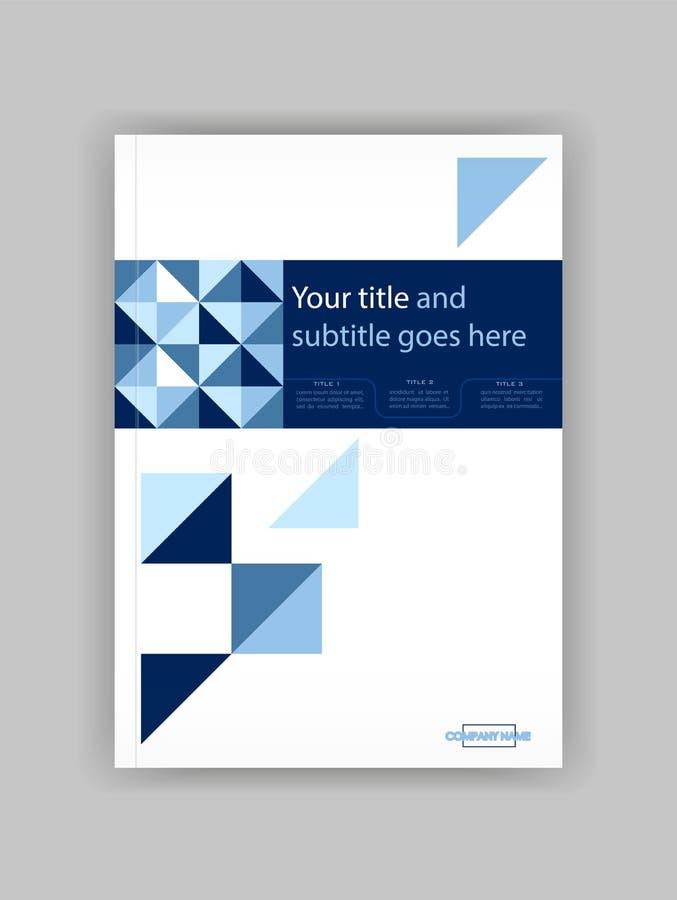 Μπλε A4 πρότυπο σχεδίου κάλυψης επιχειρησιακών βιβλίων Αγαθό για το χαρτοφυλάκιο, διανυσματική απεικόνιση