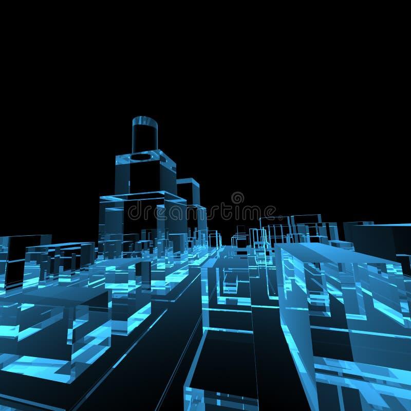 μπλε πυράκτωση πόλεων δι&alpha απεικόνιση αποθεμάτων
