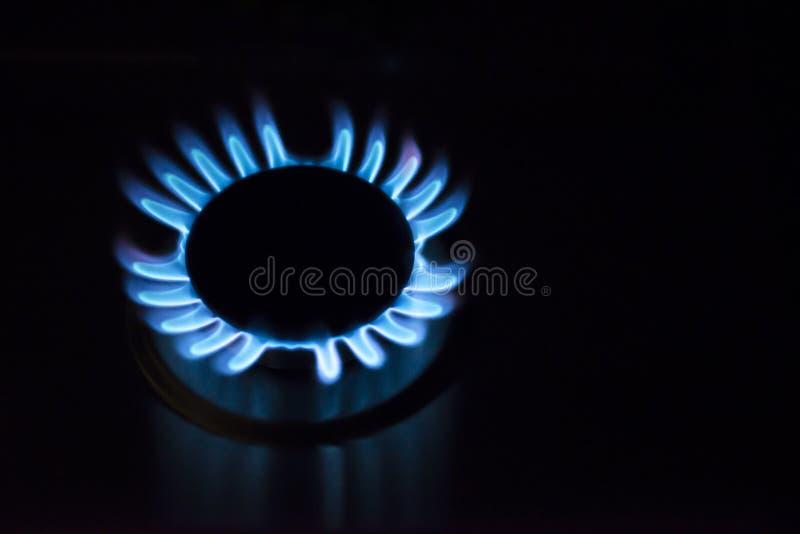 Μπλε πυρκαγιά στον καυστήρα αερίου Κάψιμο αερίου από μια σόμπα αερίου κουζινών στοκ εικόνες