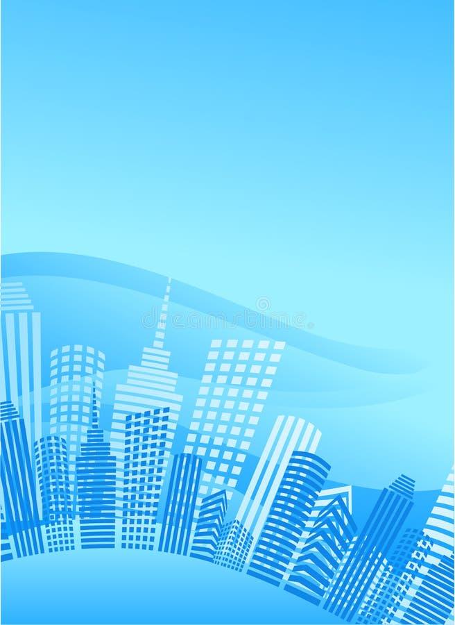 Μπλε πόλη κύκλων με τα κτίρια γραφείων ελεύθερη απεικόνιση δικαιώματος