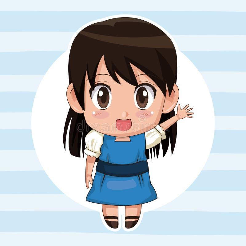 Μπλε ριγωτό υπόβαθρο χρώματος με το κυκλικό πλαίσιο και χαριτωμένος χαιρετισμός έκφρασης κοριτσιών anime με την ευθεία τρίχα ελεύθερη απεικόνιση δικαιώματος