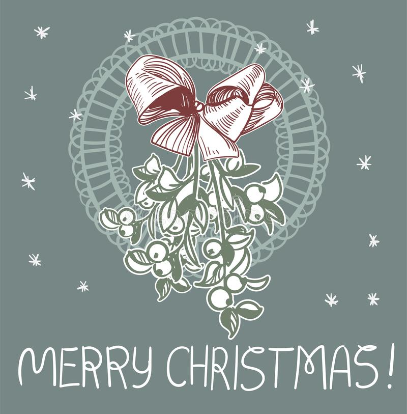 Μπλε ροζ παραδοσιακή διανυσματική κάρτα Χριστουγέννων τόξων γκι απεικόνιση αποθεμάτων