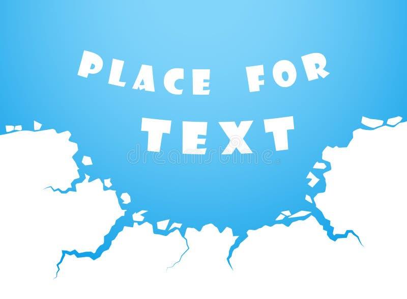 Μπλε ρωγμές πάγου, νερό Η καταστροφή, η άβυσσος Διάστημα για το διανυσματικό στοιχείο κειμένων που απομονώνεται στο άσπρο υπόβαθρ απεικόνιση αποθεμάτων