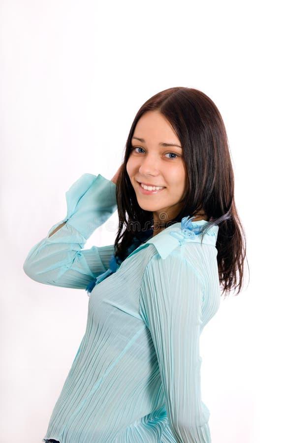 μπλε σακάκι κοριτσιών στοκ εικόνα