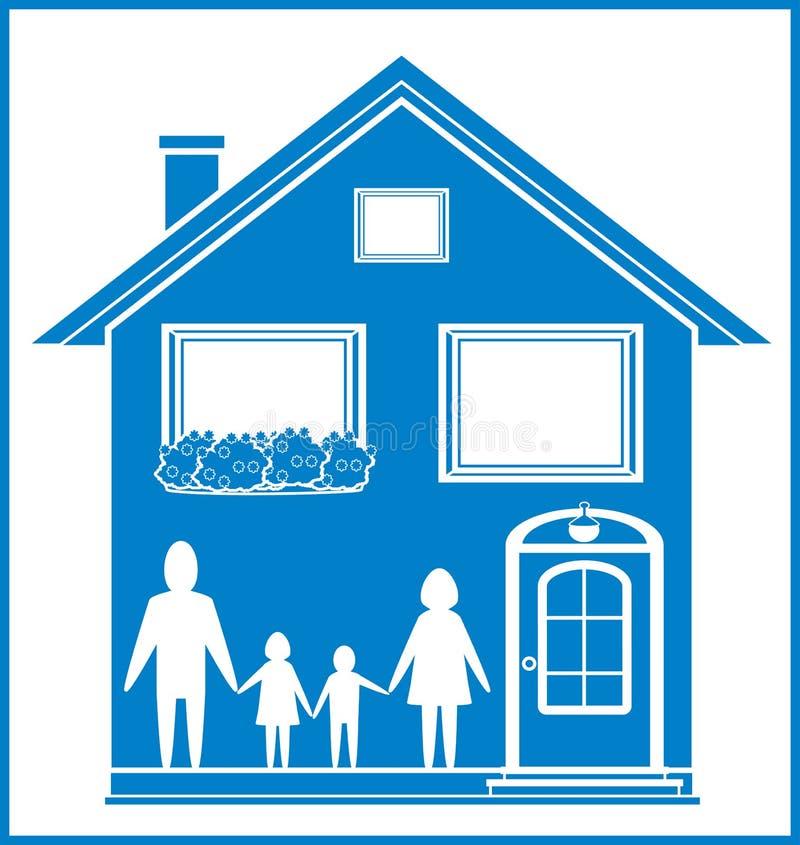 Μπλε σημάδι με το σπίτι και την οικογένεια διανυσματική απεικόνιση