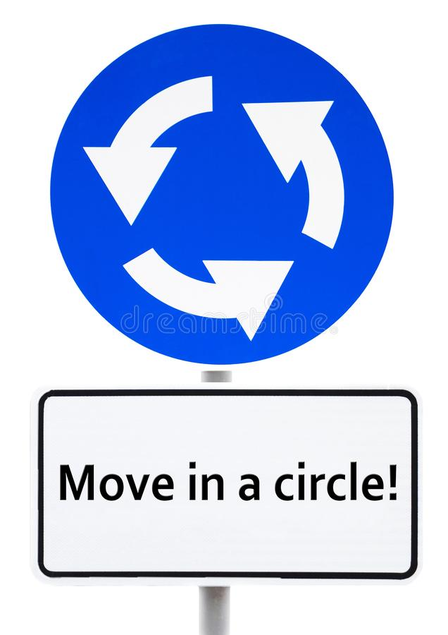"""Μπλε σημάδι περιφερειακών οδών με μια επιγραφή κίνηση άσπρων πιάτων """"σε έναν κύκλο! """" ελεύθερη απεικόνιση δικαιώματος"""