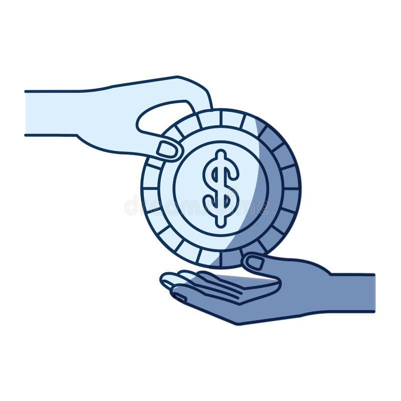 Μπλε σκίαση σκιαγραφιών χρώματος της πλάγιας όψης του ανθρώπου φοινικών που κρατά ένα νόμισμα με το σύμβολο δολαρίων μέσα στην κα απεικόνιση αποθεμάτων