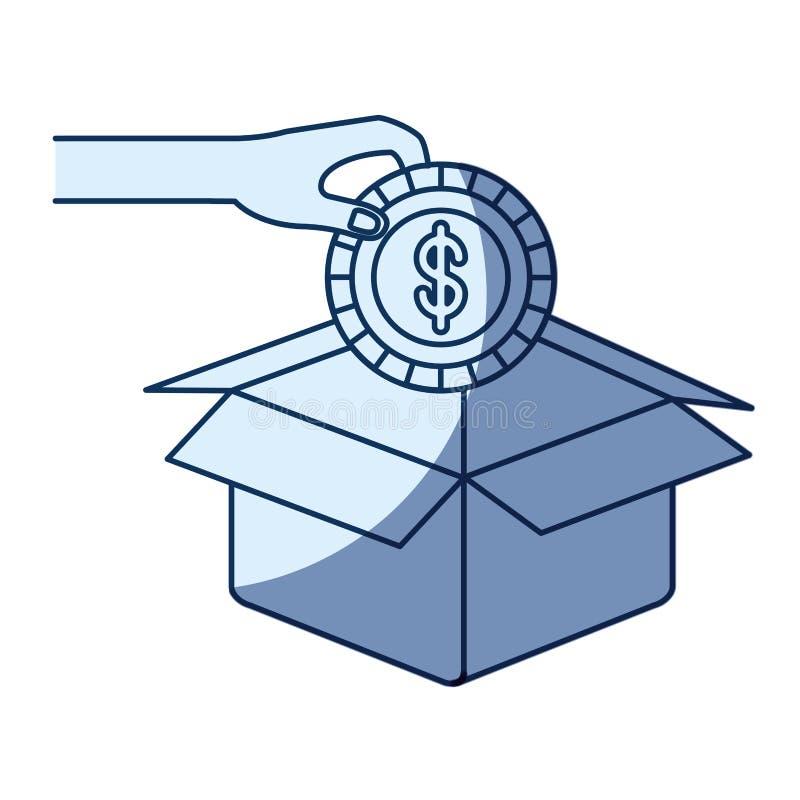 Μπλε σκίαση σκιαγραφιών χρώματος του χεριού που κρατά ένα νόμισμα με το σύμβολο δολαρίων μέσα στην κατάθεση στο κουτί από χαρτόνι ελεύθερη απεικόνιση δικαιώματος