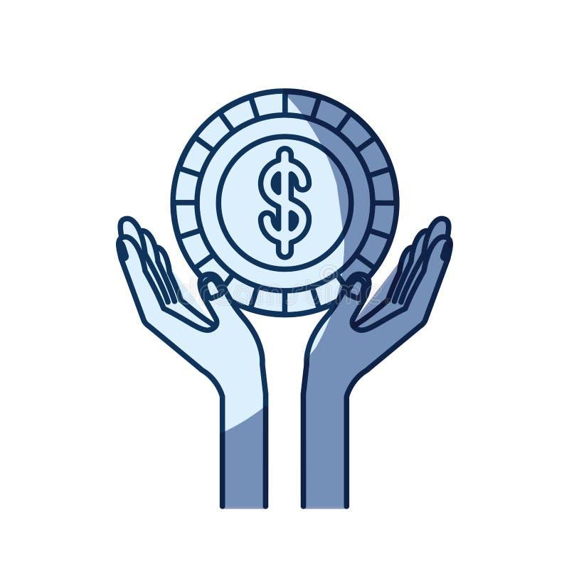 Μπλε σκίαση σκιαγραφιών χρώματος των χεριών με το επιπλέον νόμισμα με το σύμβολο δολαρίων μέσα απεικόνιση αποθεμάτων