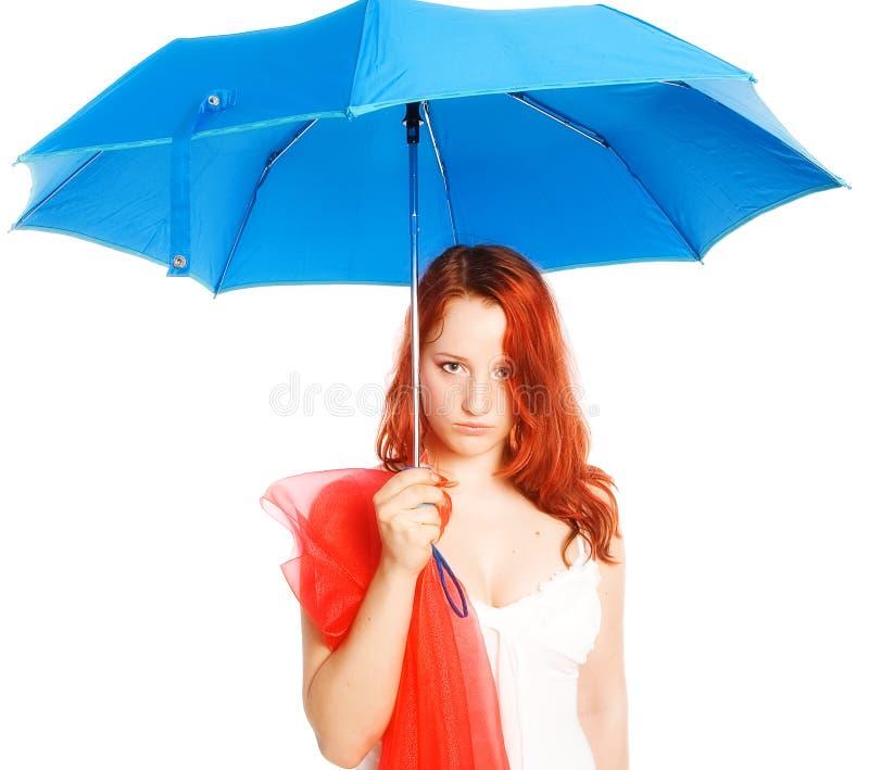 μπλε σκοτεινή ομπρέλα στοκ εικόνα