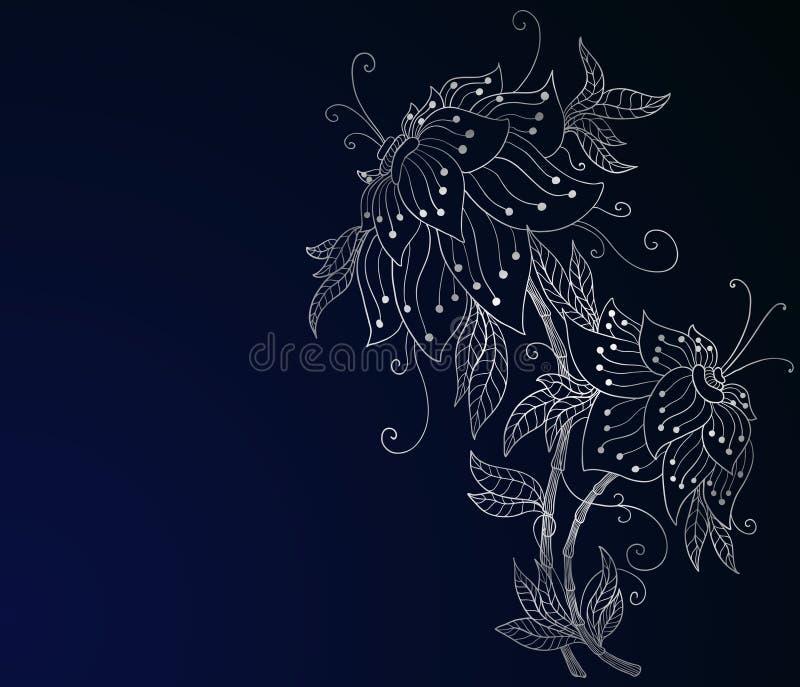 μπλε σκοτεινό orchid ασήμι διανυσματική απεικόνιση