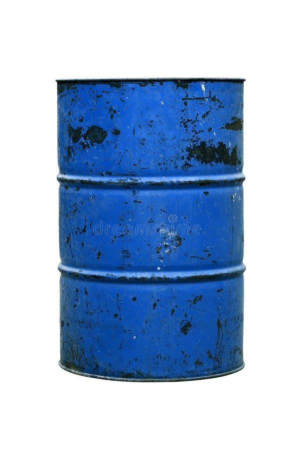 Μπλε σκουριά πετρελαίου βαρελιών παλαιά που απομονώνει στο άσπρο υπόβαθρο στοκ εικόνα με δικαίωμα ελεύθερης χρήσης