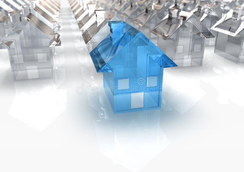 μπλε σπίτι γυαλιού διανυσματική απεικόνιση