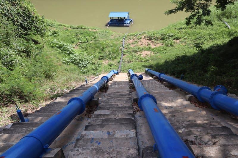 Μπλε σταθμός αντλιών ποταμών για την άντληση νερού στοκ εικόνες με δικαίωμα ελεύθερης χρήσης