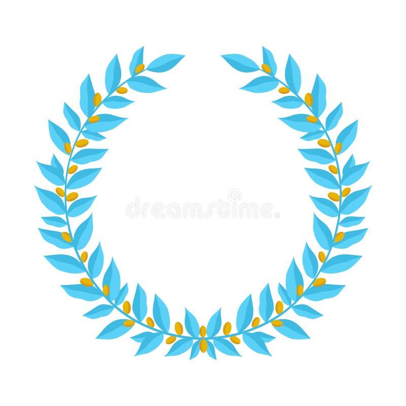 Μπλε στεφάνι δαφνών με τα χρυσά μούρα Εκλεκτής ποιότητας στοιχεία σχεδίου στεφανιών εραλδικά με τα floral πλαίσια φιαγμένα επάνω  απεικόνιση αποθεμάτων