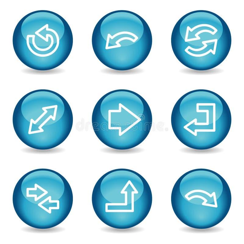 μπλε στιλπνός Ιστός σφαιρών σειράς εικονιδίων βελών ελεύθερη απεικόνιση δικαιώματος
