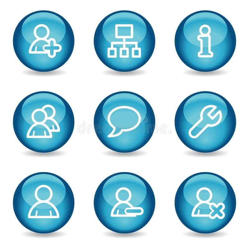 μπλε στιλπνός Ιστός χρηστών σφαιρών σειράς εικονιδίων ελεύθερη απεικόνιση δικαιώματος