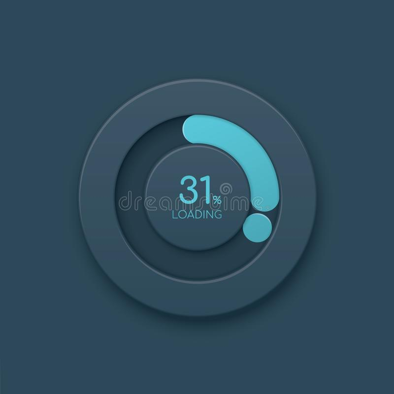 Μπλε στρογγυλός δείκτης προόδου Φραγμός προόδου φόρτωσης ελεύθερη απεικόνιση δικαιώματος