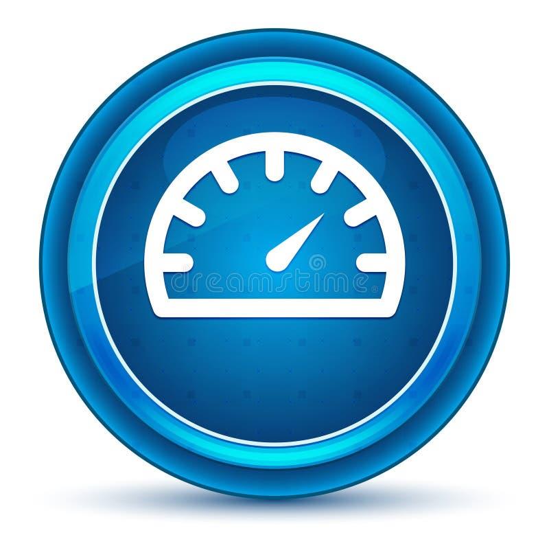 Μπλε στρογγυλό κουμπί βολβών του ματιού εικονιδίων μετρητών ταχυμέτρων διανυσματική απεικόνιση