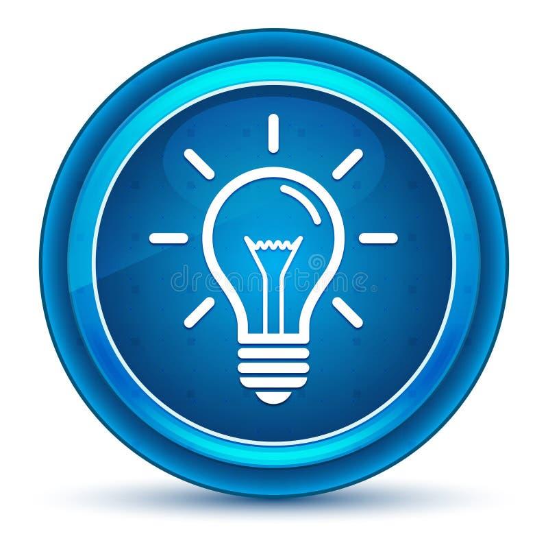 Μπλε στρογγυλό κουμπί βολβών του ματιού εικονιδίων Lightbulb διανυσματική απεικόνιση