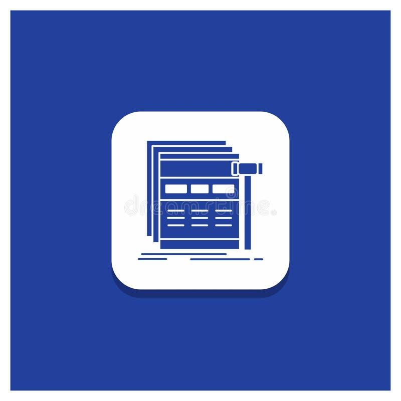 Μπλε στρογγυλό κουμπί για Διαδίκτυο, σελίδα, Ιστός, webpage, wireframe εικονίδιο Glyph ελεύθερη απεικόνιση δικαιώματος