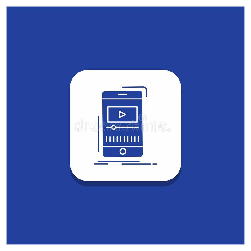 Μπλε στρογγυλό κουμπί για τα μέσα, μουσική, φορέας, τηλεοπτικό, κινητό εικονίδιο Glyph ελεύθερη απεικόνιση δικαιώματος