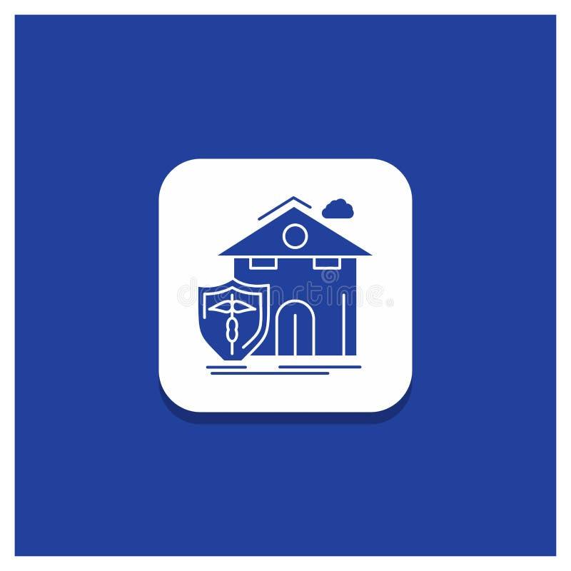 Μπλε στρογγυλό κουμπί για την ασφάλεια, σπίτι, σπίτι, θύμα, εικονίδιο Glyph προστασίας διανυσματική απεικόνιση