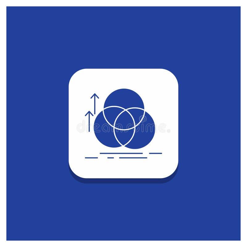 Μπλε στρογγυλό κουμπί για την ισορροπία, κύκλος, ευθυγράμμιση, μέτρηση, εικονίδιο Glyph γεωμετρίας διανυσματική απεικόνιση