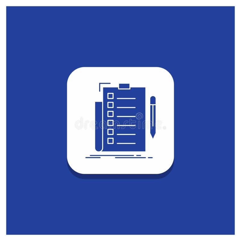 Μπλε στρογγυλό κουμπί για την πείρα, πίνακας ελέγχου, έλεγχος, κατάλογος, έγγραφο εικονίδιο Glyph διανυσματική απεικόνιση