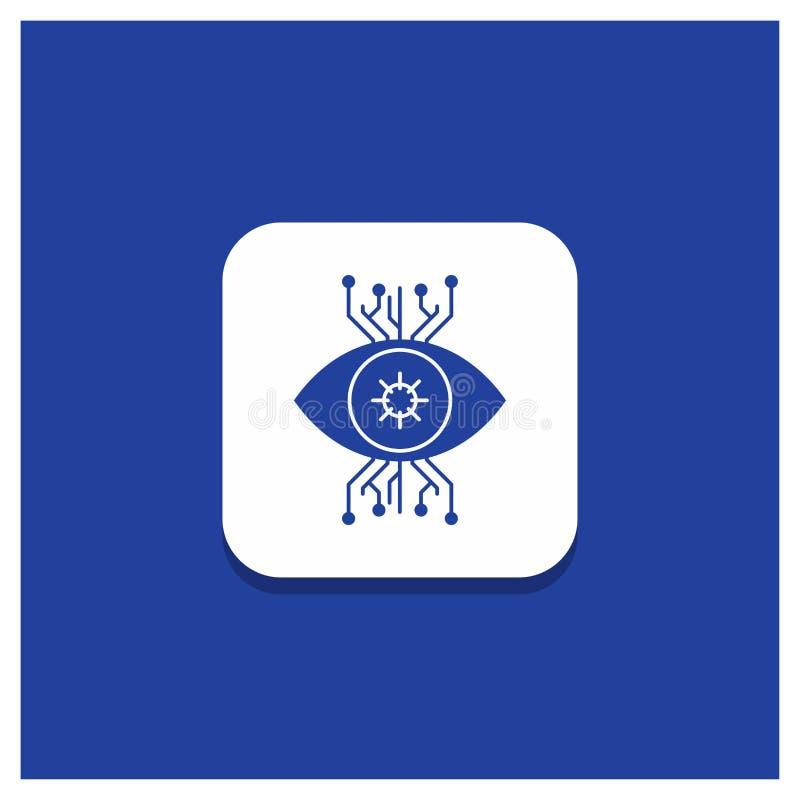 Μπλε στρογγυλό κουμπί για την υποδομή, έλεγχος, επιτήρηση, όραμα, εικονίδιο Glyph ματιών ελεύθερη απεικόνιση δικαιώματος