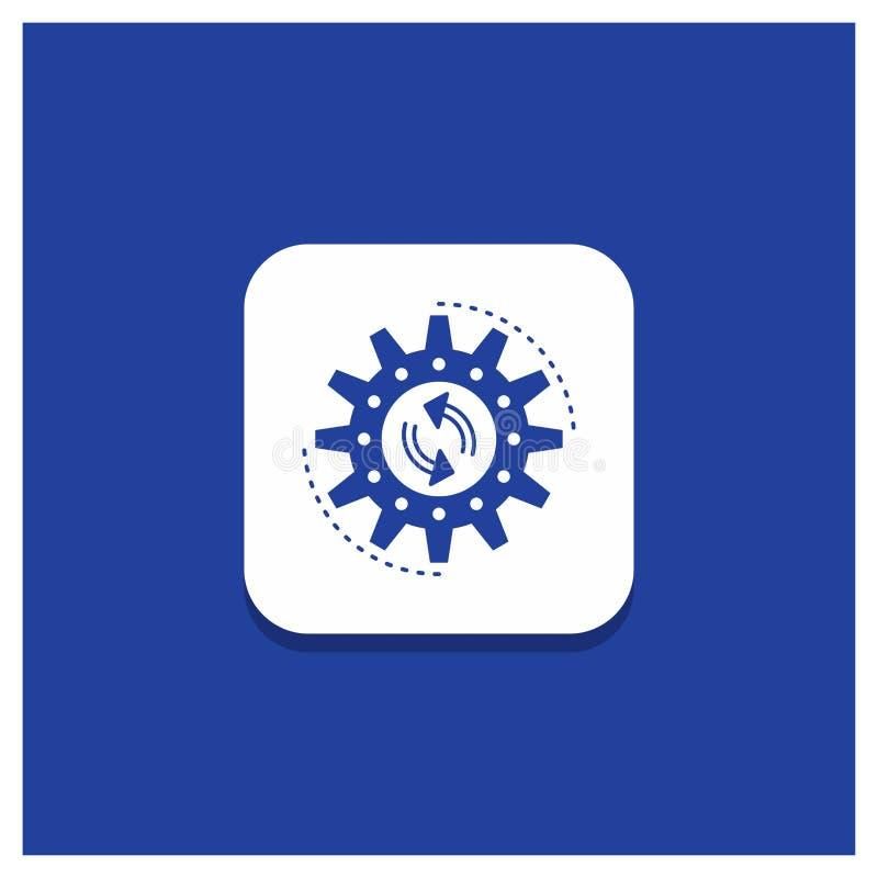 Μπλε στρογγυλό κουμπί για τη διαχείριση, διαδικασία, παραγωγή, στόχος, εικονίδιο Glyph εργασίας διανυσματική απεικόνιση