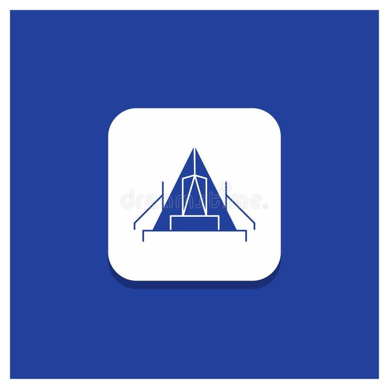 Μπλε στρογγυλό κουμπί για τη σκηνή, στρατοπέδευση, στρατόπεδο, θέση για κατασκήνωση, υπαίθριο εικονίδιο Glyph ελεύθερη απεικόνιση δικαιώματος