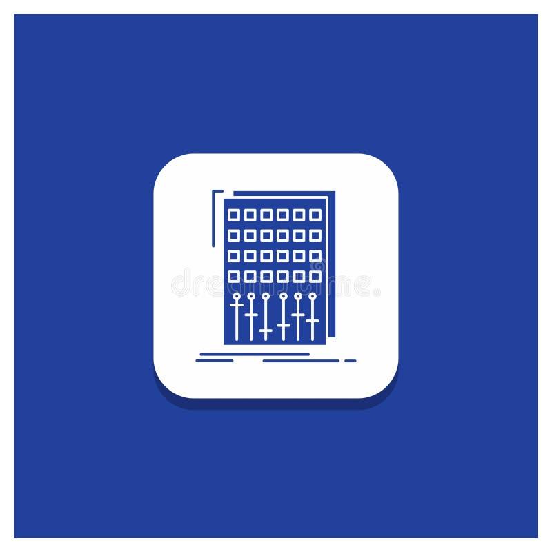 Μπλε στρογγυλό κουμπί για τον ήχο, έλεγχος, μίγμα, αναμίκτης, εικονίδιο Glyph στούντιο απεικόνιση αποθεμάτων