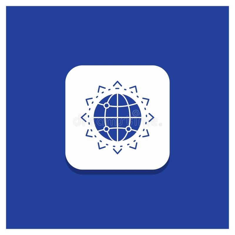 Μπλε στρογγυλό κουμπί για τον κόσμο, σφαίρα, SEO, επιχείρηση, εικονίδιο Glyph βελτιστοποίησης ελεύθερη απεικόνιση δικαιώματος