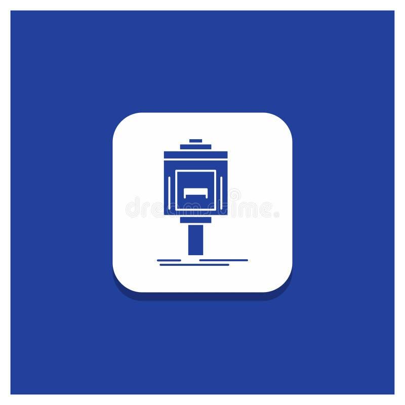 Μπλε στρογγυλό κουμπί για τον προσωπικό υπηρέτη, χώρος στάθμευσης, υπηρεσία, ξενοδοχείο, εικονίδιο Glyph κοιλάδων ελεύθερη απεικόνιση δικαιώματος