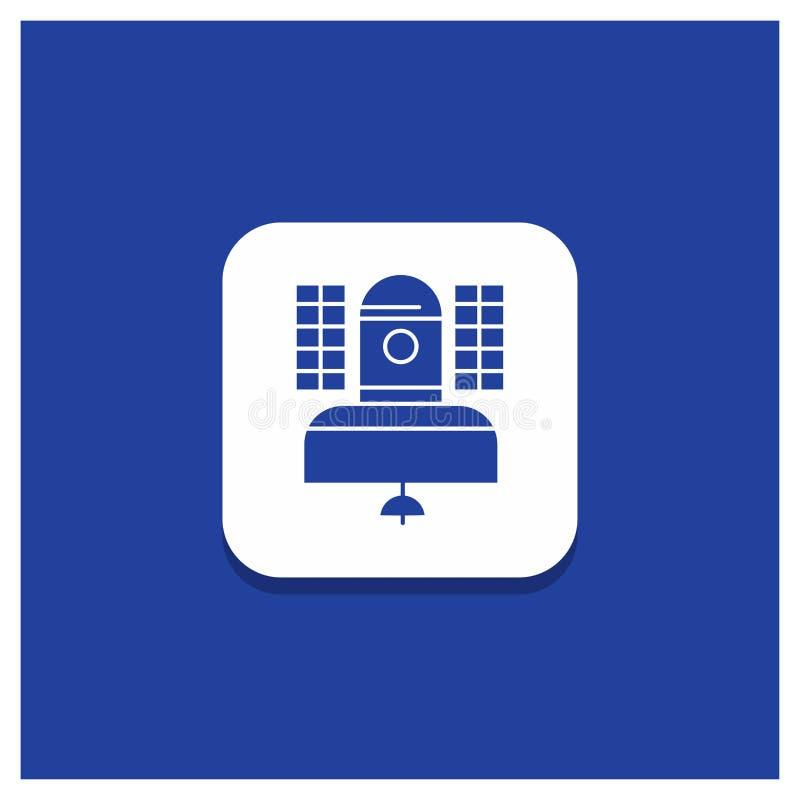Μπλε στρογγυλό κουμπί για το δορυφόρο, ραδιοφωνική μετάδοση, ραδιοφωνική αναμετάδοση, επικοινωνία, εικονίδιο Glyph τηλεπικοινωνιώ διανυσματική απεικόνιση
