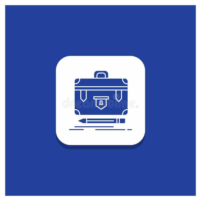 Μπλε στρογγυλό κουμπί για το χαρτοφύλακα, επιχείρηση, οικονομική, διαχείριση, εικονίδιο Glyph χαρτοφυλακίων διανυσματική απεικόνιση