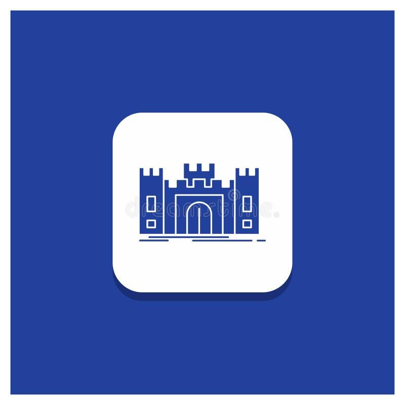 Μπλε στρογγυλό κουμπί για το Castle, υπεράσπιση, οχυρό, φρούριο, εικονίδιο Glyph ορόσημων απεικόνιση αποθεμάτων