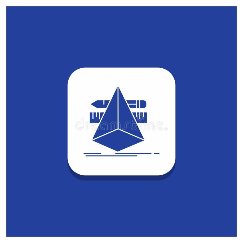 Μπλε στρογγυλό κουμπί για τρισδιάστατο, σχέδιο, σχεδιαστής, σκίτσο, εικονίδιο Glyph εργαλείων απεικόνιση αποθεμάτων