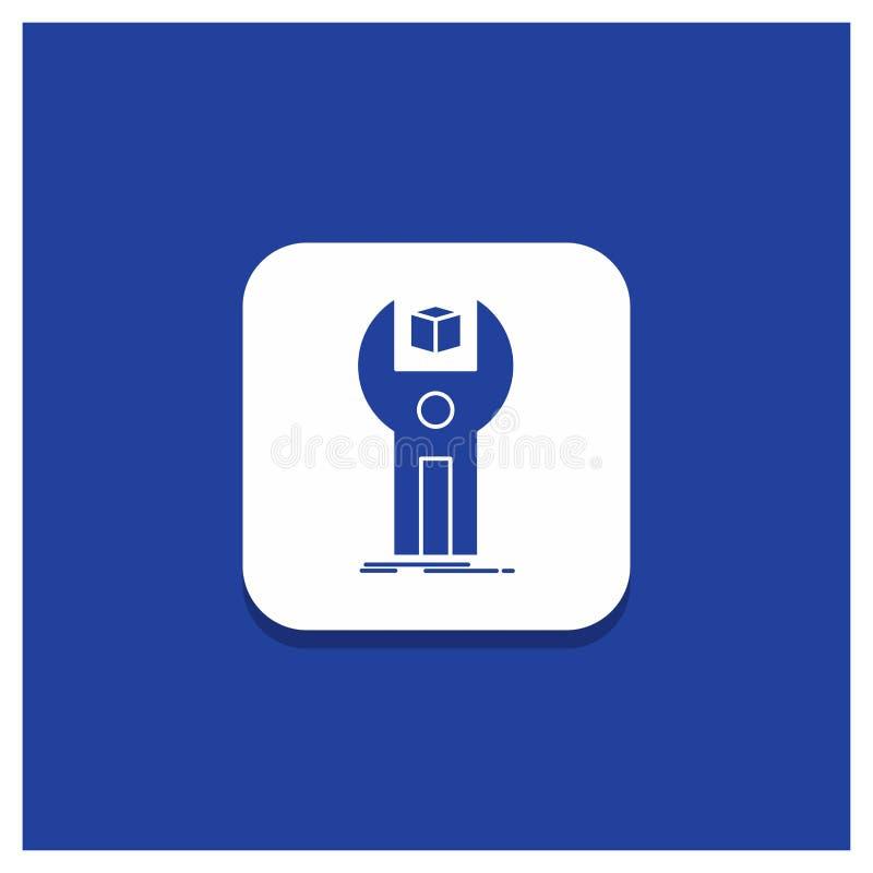 Μπλε στρογγυλό κουμπί για SDK, App, ανάπτυξη, εξάρτηση, εικονίδιο προγραμματισμού Glyph ελεύθερη απεικόνιση δικαιώματος