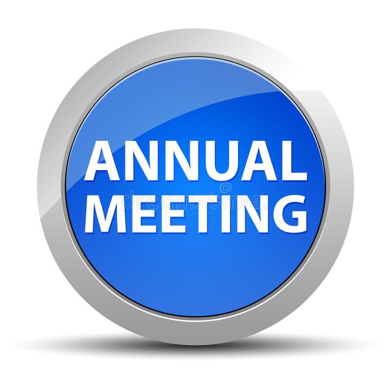 Μπλε στρογγυλό κουμπί ετήσια συνάντησης ελεύθερη απεικόνιση δικαιώματος