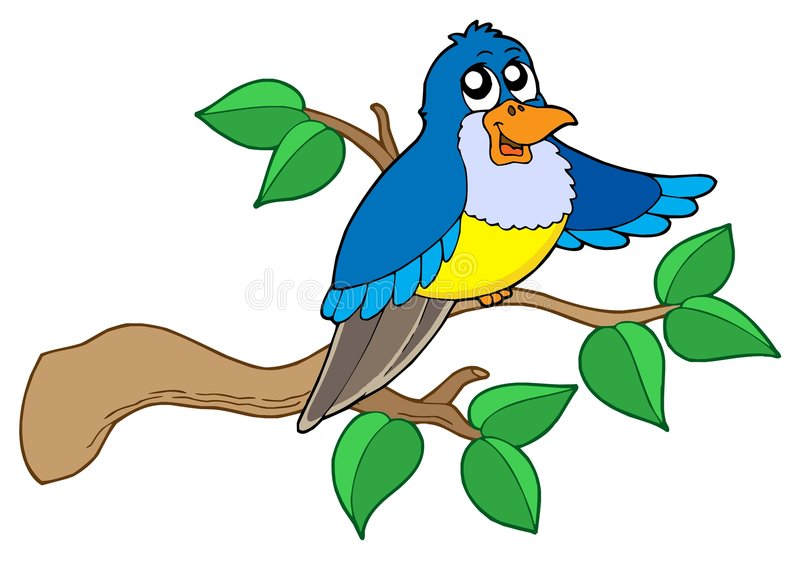 μπλε συνεδρίαση κλάδων πουλιών ελεύθερη απεικόνιση δικαιώματος