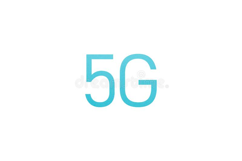 Μπλε συστήματα δικτύων εικονιδίων 5G ασύρματα και Διαδίκτυο των πραγμάτων απεικόνιση αποθεμάτων