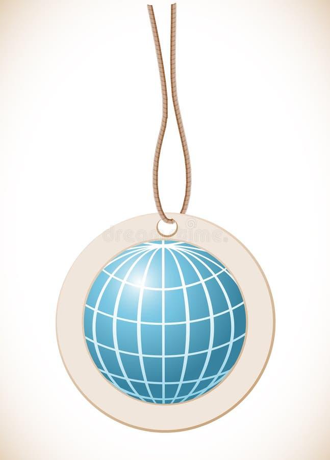 Μπλε σφαίρα, ετικέτα με το σκοινί διανυσματική απεικόνιση