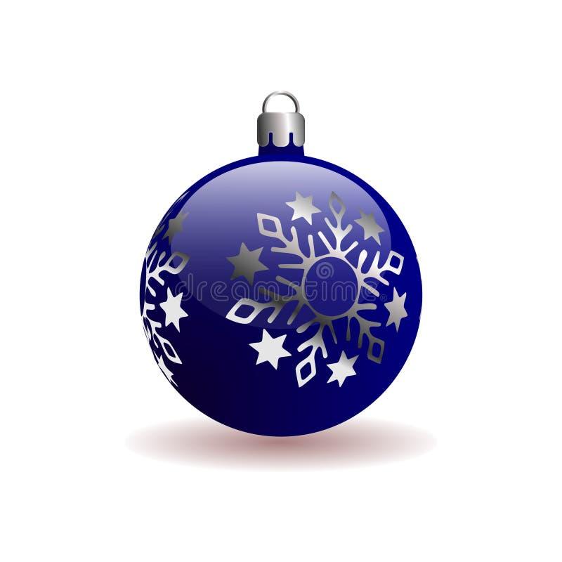 Μπλε σφαίρα Χριστουγέννων με ασημένιο snowflake ελεύθερη απεικόνιση δικαιώματος