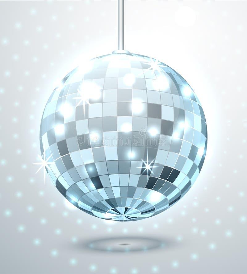 Μπλε σφαίρα disco καθρεφτών με το έντονο φως και το τρεμούλιασμα επίσης corel σύρετε το διάνυσμα απεικόνισης διανυσματική απεικόνιση