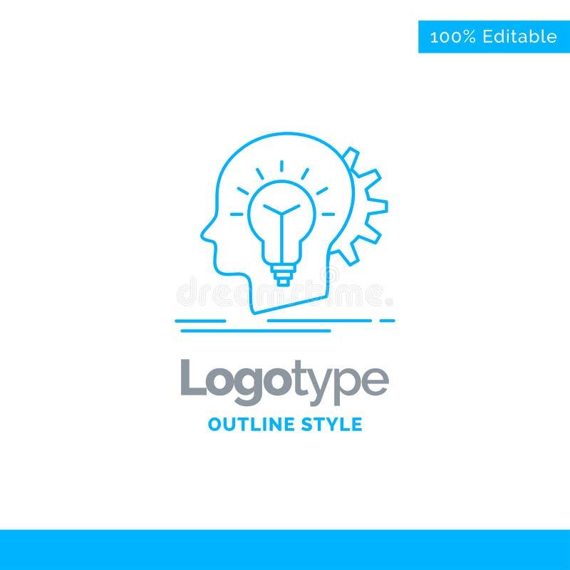 Μπλε σχέδιο λογότυπων για δημιουργικό, δημιουργικότητα, κεφάλι, ιδέα, σκέψη ελεύθερη απεικόνιση δικαιώματος