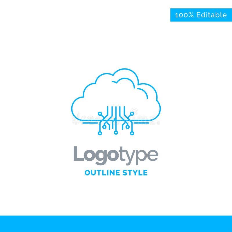 Μπλε σχέδιο λογότυπων για το σύννεφο, υπολογισμός, στοιχεία, φιλοξενία, δίκτυο Β διανυσματική απεικόνιση