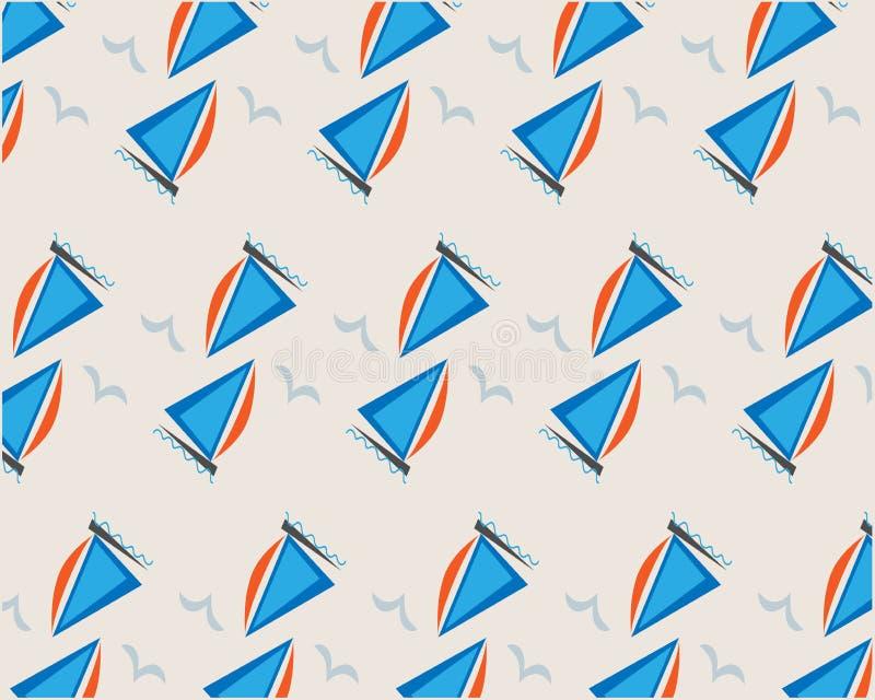 Μπλε σχέδιο σκαφών και seagulls στο μπεζ υπόβαθρο διανυσματική απεικόνιση